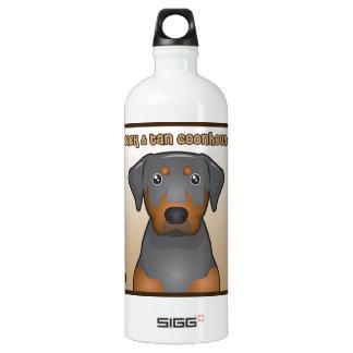 Black and Tan Coonhound Cartoon Heart Water Bottle