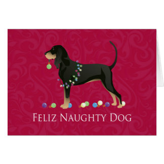 Black and Tan Coonhound Christmas Card