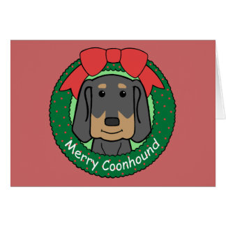 Black and Tan Coonhound Christmas Stationery Note Card