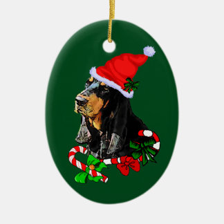 Black and Tan Coonhound Christmas Ceramic Ornament