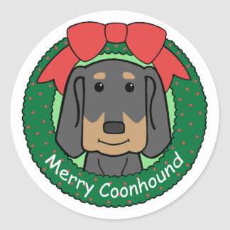 Black and Tan Coonhound Christmas Classic Round Sticker