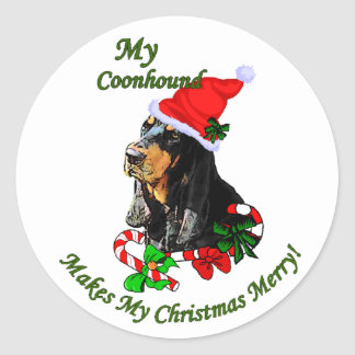 Black and Tan Coonhound Christmas Gifts Classic Round Sticker