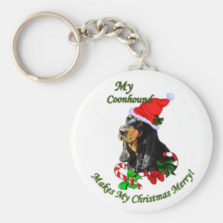 Black and Tan Coonhound Christmas Gifts Keychain