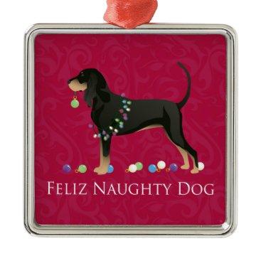 Christmas Themed Black and Tan Coonhound Christmas Metal Ornament