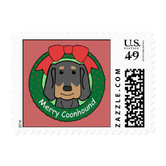 Black and Tan Coonhound Christmas Postage Stamps