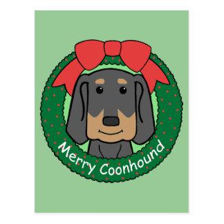 Black and Tan Coonhound Christmas Postcard