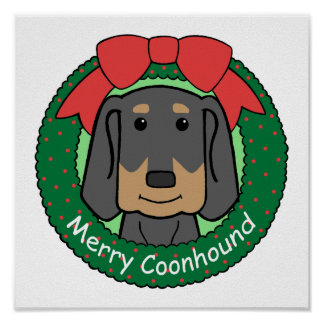 Black and Tan Coonhound Christmas Poster