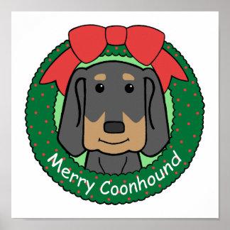 Black and Tan Coonhound Christmas Print