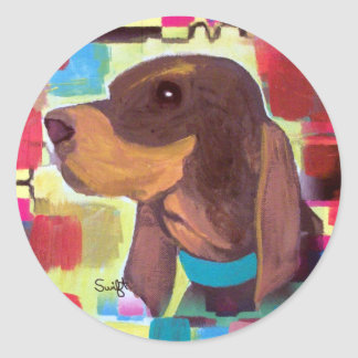 Black and Tan Coonhound Classic Round Sticker