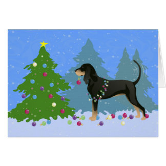Black and Tan Coonhound Decorating Christmas Tree Card