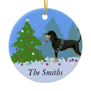 Christmas Themed Black and Tan Coonhound Decorating Christmas Tree Ceramic Ornament
