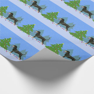 Black and Tan Coonhound Decorating Christmas Tree Wrapping Paper