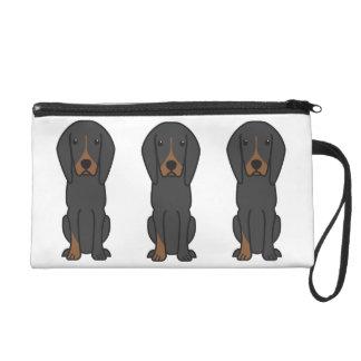 Black and Tan Coonhound Dog Cartoon Wristlet Clutch