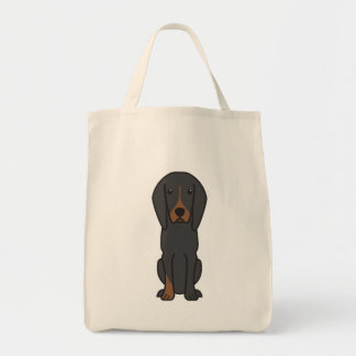 Black and Tan Coonhound Dog Cartoon Tote Bags