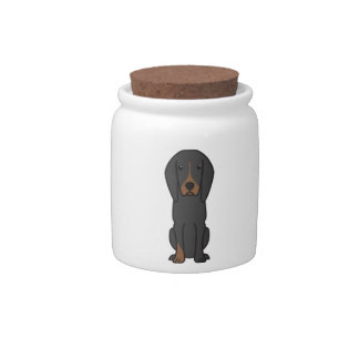 Black and Tan Coonhound Dog Cartoon Candy Dishes