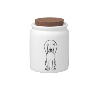 Black and Tan Coonhound Dog Cartoon Candy Jar
