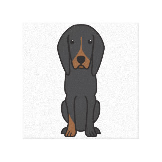 Black and Tan Coonhound Dog Cartoon Gallery Wrapped Canvas