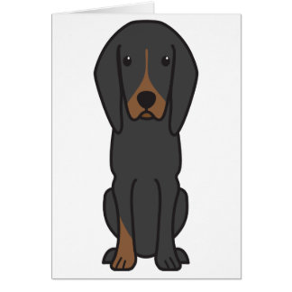 Black and Tan Coonhound Dog Cartoon Greeting Card