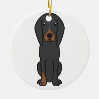 Black and Tan Coonhound Dog Cartoon Ceramic Ornament