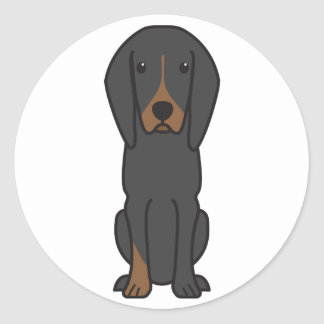 Black and Tan Coonhound Dog Cartoon Classic Round Sticker