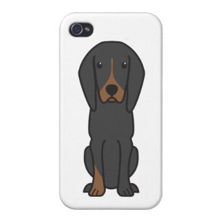 Black and Tan Coonhound Dog Cartoon iPhone 4 Case