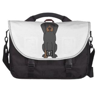 Black and Tan Coonhound Dog Cartoon Laptop Commuter Bag