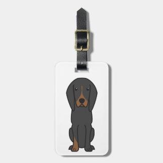Black and Tan Coonhound Dog Cartoon Bag Tags