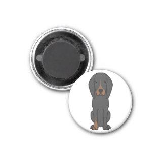 Black and Tan Coonhound Dog Cartoon Fridge Magnet