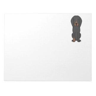 Black and Tan Coonhound Dog Cartoon Memo Notepad