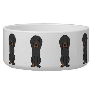 Black and Tan Coonhound Dog Cartoon Dog Water Bowls