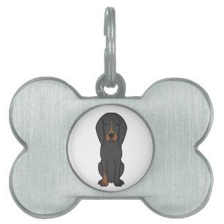 Black and Tan Coonhound Dog Cartoon Pet Name Tags