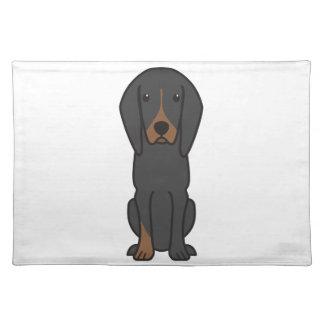 Black and Tan Coonhound Dog Cartoon Placemats
