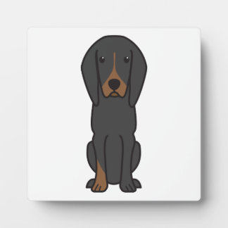 Black and Tan Coonhound Dog Cartoon Photo Plaques