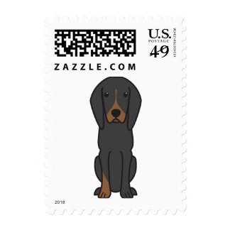 Black and Tan Coonhound Dog Cartoon Stamps