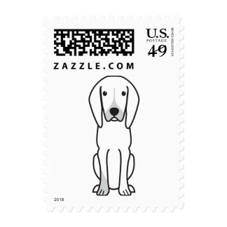 Black and Tan Coonhound Dog Cartoon Stamp