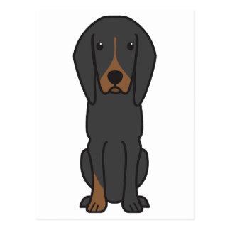 Black and Tan Coonhound Dog Cartoon Postcard