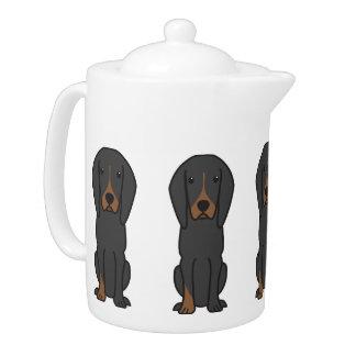 Black and Tan Coonhound Dog Cartoon
