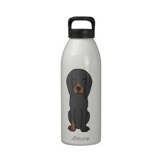 Black and Tan Coonhound Dog Cartoon Drinking Bottles