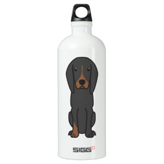 Black and Tan Coonhound Dog Cartoon Water Bottle