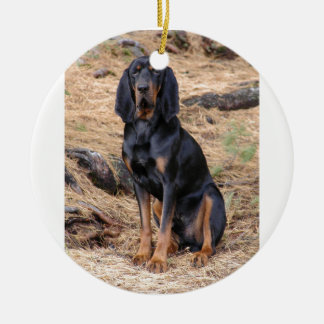 Black and Tan Coonhound Dog Ceramic Ornament