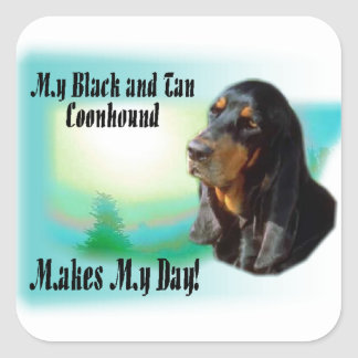 Black and Tan Coonhound Gifts Square Sticker