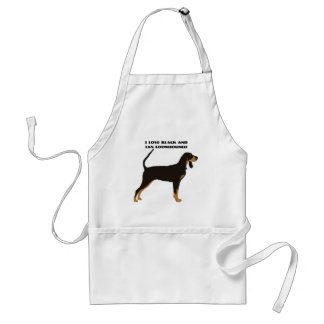 Black and Tan Coonhound on Tan Leaves Adult Apron