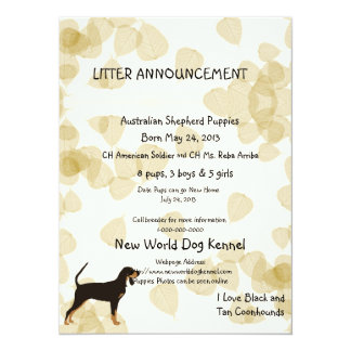 Black and Tan Coonhound on Tan Leaves Card