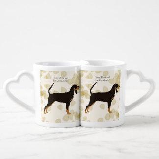 Black and Tan Coonhound on Tan Leaves Coffee Mug Set