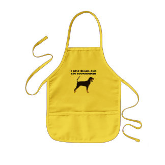 Black and Tan Coonhound on Tan Leaves Kids' Apron
