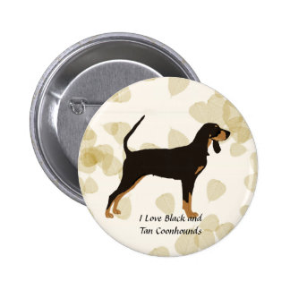 Black and Tan Coonhound on Tan Leaves Pinback Button