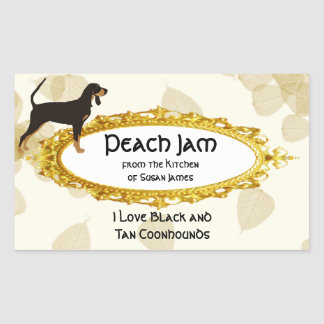 Black and Tan Coonhound on Tan Leaves Rectangular Sticker