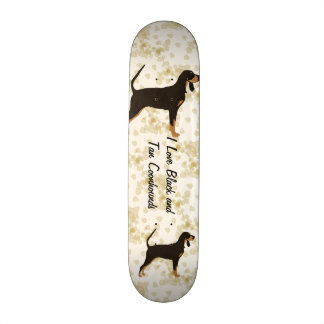 Black and Tan Coonhound on Tan Leaves Skate Decks