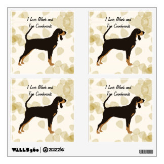 Black and Tan Coonhound on Tan Leaves Wall Decal