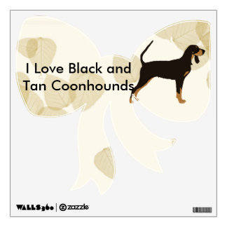 Black and Tan Coonhound on Tan Leaves Wall Sticker